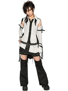 3-Way A SYMMETRY Decadence Shirt Off-White x Black. See more at http://www.cdjapan.co.jp/apparel/sexpot.html #harajuku #punk