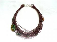 Stone/Ceramic Natural Linen Necklace, Organic, Earthy Jewelry by Adanemi for $45.00