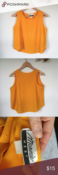 """More Details Soon! Mustard Yellow Crop Top -18"""" armpit to armpit -19"""" long back collar to hem -58% acetate, 42% rayon Marnie West Tops Crop Tops"""