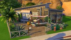 """Tiny Oasis by SushiMarilyn sushimarilyn: """" This is a tiny home built for The Sims 4 tiny house competition as a new stuff pack Tiny Living is coming out. Sims Building, Building A House, Outdoor Retreat, Outdoor Decor, Sims House Design, Sims 4 Houses, Back Patio, City Living, Home Studio"""