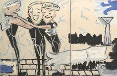 Rose Wylie Swimming with Cats (Blue Twink), 2002