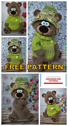 Amigurumi Confused Teddy Bear Free Crochet Pattern in 2020 (With images) Teddy Bear Patterns Free, Teddy Bear Knitting Pattern, Crochet Teddy Bear Pattern, Animal Knitting Patterns, Crochet Patterns Amigurumi, Stuffed Animal Patterns, Crochet Dolls, Crochet Teddy Bears, Doll Patterns