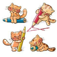 Cute-cats-and-pencil-vecto-material.jpg (500×500)