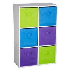 Meuble de rangement 6 tiroirs - 58,5 x 29,5 x 90 cm - Blanc, violet, vert, bleu