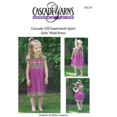 Girl's Plaid Dress in Cascade 220 Superwash Sport - DK210. Discover more Patterns by Cascade Yarns at LoveKnitting. We stock patterns, yarn, needles and books from all of your favorite brands.