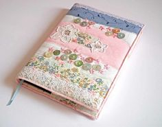 Notebook, Sketchbook, Journal, Diary Cover, A5, Vintage Linen and Lace £28.00