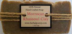 100% Natural Morrocan Rhassoul Clay Soap by PoetryHerbal on Etsy
