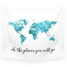 "Society6 Oh, The Places You Will Go Wall Tapestry Small: 51"" x 60"""