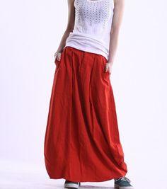 Orange linen maxi bud skirt van dreamyil op Etsy