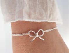 Sterling Silver bow bracelet, tie the knot bracelet...dainty, everyday, simple, birthday, wedding, bridesmaid jewelry