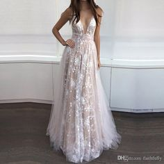 Deep V Neck Prom Gowns 2017 Sleeveless Long Light Chamagne Prom Dresses Pleated Lace Applique Floor Length Formal Evening Gowns Prom Maxi Dresses Prom Style Dresses From Faithfully, $130.66| Dhgate.Com