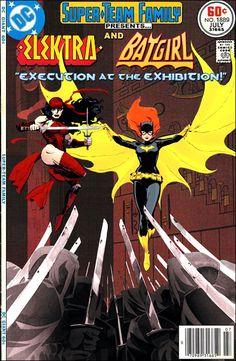 Super-Team Family: The Lost Issues!: Elektra and Batgirl Marvel Vs, Marvel Dc Comics, A Comics, Marvel Women, Dc Comic Books, Comic Book Covers, Comic Art, Marvel And Dc Crossover, Classic Comics