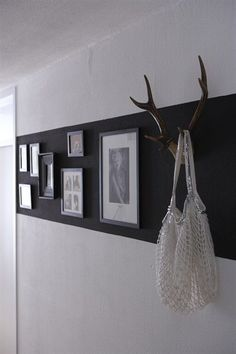 love the black paint stripe - what a great way to make artwork pop