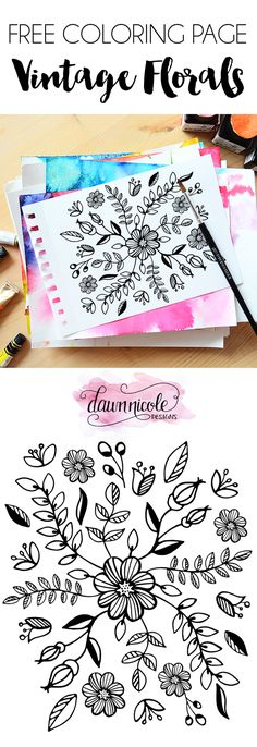 Vintage Florals Free Coloring Page. Use your favorite markers, colored pencils, or even watercolors with this free floral coloring page! | dawnnicoledesigns.com