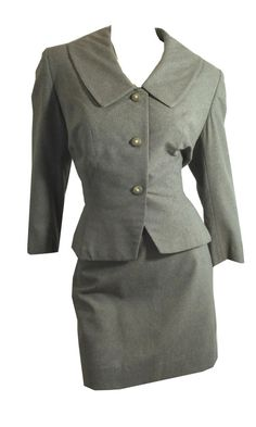 vintage Charcoal Grey Nipped Waist Jacket and Skirt 1950s by DorotheasCloset