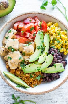 Buffalo Chicken Burrito Bowls - Juicy chicken along with your favorite burrito ingredients served in a bowl!! Pile the toppings sky high and not worry about a wrap breaking, plus it's a little healthier!! Easy and ready in 15 minutes!!