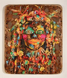 """Mixed media is the name of the game for artist Ashley Bickerton who creates abstract portraits out of various found objects, plywood, along with oil and acrylic paints. Bickerton is considered a pioneer Neo-Geometric (""""Neo-Geo"""") Conceptualism, which rejects Neo-Expressionist trends in painting, and critiques the mechanization and commercialization of the modern world, using geometry as a metaphor for society."""