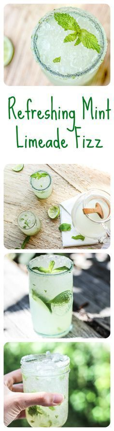 This delicious mint limeade fizz is refreshing, citrusy, bubbly, and most definitely the drink of the summer! This delicious mint limeade f Party Drinks, Cocktail Drinks, Fun Drinks, Healthy Drinks, Healthy Snacks, Beverages, Cocktail Recipes, Drink Recipes, Refreshing Drinks