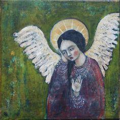 print on wood 29 angel in purple 8 x 8 by janespakowsky on Etsy, $35.00