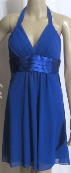 NEW JUNIORS B. DARLIN Royal Blue Silky Halter Party Ball Gown Dress 5/6 $69 #BDarlin #PartyDress #Festive