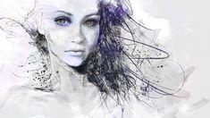 1920x1080 Wallpaper girl, face, eyes, hair, drawing