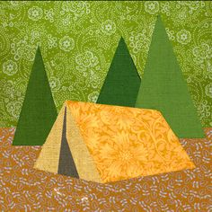 Camping tent Paper pieced quilt block pattern PDF by BubbleStitch, $2.90