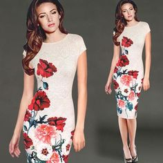 Vfemage Womens Elegant Vintage Floral Flower Printed Charming Pinup Casual Party Evening Sheath Bodycon Pencil Dress