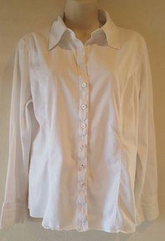 CATO Women's White Long Sleeve Button Down Career Shirt Work Blouse Size L EUC #Cato #ButtonDownShirt #Career
