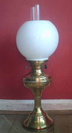 Antiques Atlas - Brass Oil Lamp With Corinthian Column