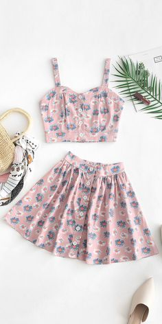 Cute two pieces summer outfit to try - Summer Dresses Teen Fashion Outfits, Outfits For Teens, Trendy Outfits, 2 Piece Outfits, Two Piece Outfit, Jugend Mode Outfits, Teenager Outfits, Cute Summer Outfits, Looks Style