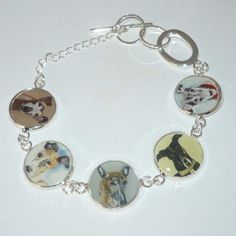 Silvr Altered Art Bracelet with 5 Portraits of Greyhound or Whippet Dogs, OOAK