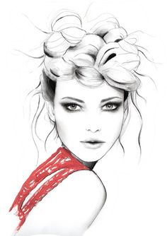 Sarah Harkinson. Australian illustrator. Week 1 Eduardo. Graphite pencil. The shading used particularly in the hair is very effective, as well as the meticulous line work. There is a good balance of light and dark which implies a very controlled feeling and evokes a elegant style.