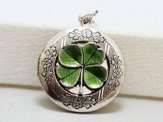 Four Leaf Clover Locket,Claddagh, Antique Locket,Silver Locket, Irish,Lucky, Shamrock,Love,Wedding,Bridal Jewelry,Bridesmaids Gift on Etsy, $31.58 CAD