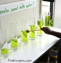 Make sound with water -  add food coloring or liquid water paint to a pitcher of water & pour different amount to tall glass vases. Have little one tap each vase to see the different sounds. Use same color in each vase so little one learns it is the amount of water that changes the sound.