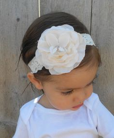 Vintage Style Ivory Rose and Lace Baby Headband. $16.00, via @Corinne M @Dana Molloy