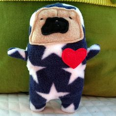 Cappy ~ The Captain America Pug Bummlie ~ Stuffingless Dog Toy - Ready To Ship Today by pugnotes on Etsy