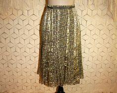 Silk Skirt Olive Green Print Skirt Midi Skirt by MagpieandOtis