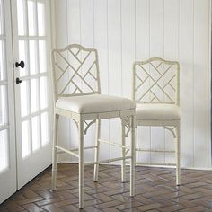 Our Dayna Barstool captures the sophisticated soul of Chinese Chippendale styling. The solid beech wood frame is artisan crafted with classic fretwork.