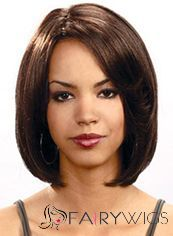 2015 Cool Short Wavy Brown No Bang African American Lace Wigs for Women 12 Inch