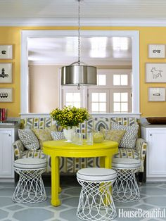 Bright Kitchen Dining Area. Design: Lindsey Coral Harper. housebeautiful.com #kitchens