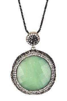 HauteLook | Spring Preview: Zsa Zsa Jewelry: Sterling Silver Faceted Agate, Swarovski Crystal & Hematite Stacy Spring Pendant Necklace