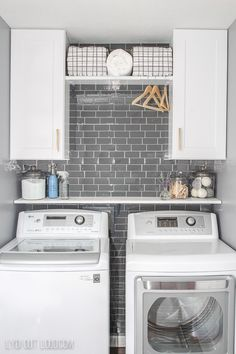 Laundry Room with Gray Subway Tile