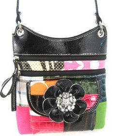Cute! Patchwork Rhinestone Flower Hipster Cross Body Bag Purse Black *** You can get more details by clicking on the image. (This is an Amazon Affiliate link and I receive a commission for the sales)