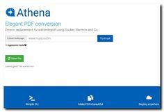 """ATHENA PDF, Convierte onlien cualquier Web en PDF. Completamente GRATUITA, no necesita de ningún tipo de registro ni instalación. Escribir o pegar la URL de la web que queremos convertir en la ventana central y dar Clic en el boton """"Try it out"""". Similar a la opción """"guardar como PDF"""" de imprimir en el navegador Google Chrome. Enlace a la aplicación: http://www.athenapdf.com/"""