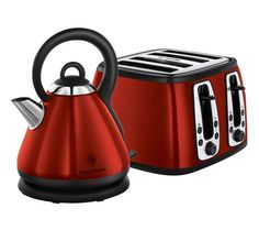 Buy RUSSELL HOBBS Heritage 19140 Traditional Kettle - Red + Heritage 19160 4-Slice Toaster - Red   Free Delivery   Currys