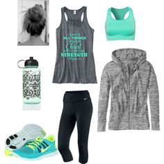 Workout Outfit by kaykayb1 on Polyvore featuring mode, Athleta, NIKE, Pure Lime and Victoria's Secret PINK