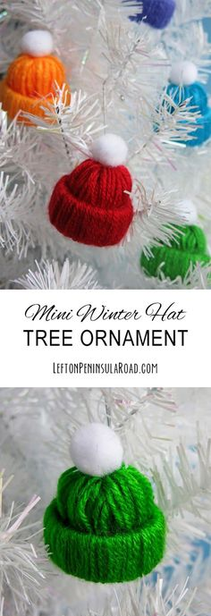 Craft Mini Winter Hat Tree Ornaments from yarn and recycled cardboard tubes