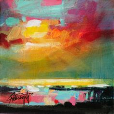 Scott Naismith - This painting is so abstractly colorful and yet still very representational of the sky.  -The brushstrokes are overly obvious in some places and then in others the paint glides from color to color.  -I can't help but think...Is the black to dark and heavy?