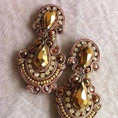 #angelyezenwaku #gold #embroidery #statementearrings #rhinestones #swarosky