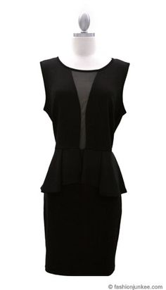 Plus Size Peplum Plunge Mesh Sexy Dress-Black 3d Fashion, Fashion Outfits, Plus Size Peplum, Affordable Plus Size Clothing, Lbd, Plus Size Outfits, Dress Black, Plus Size Fashion, Birthday Ideas